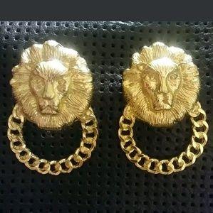 Large Gold Runway Lion Head Earrings